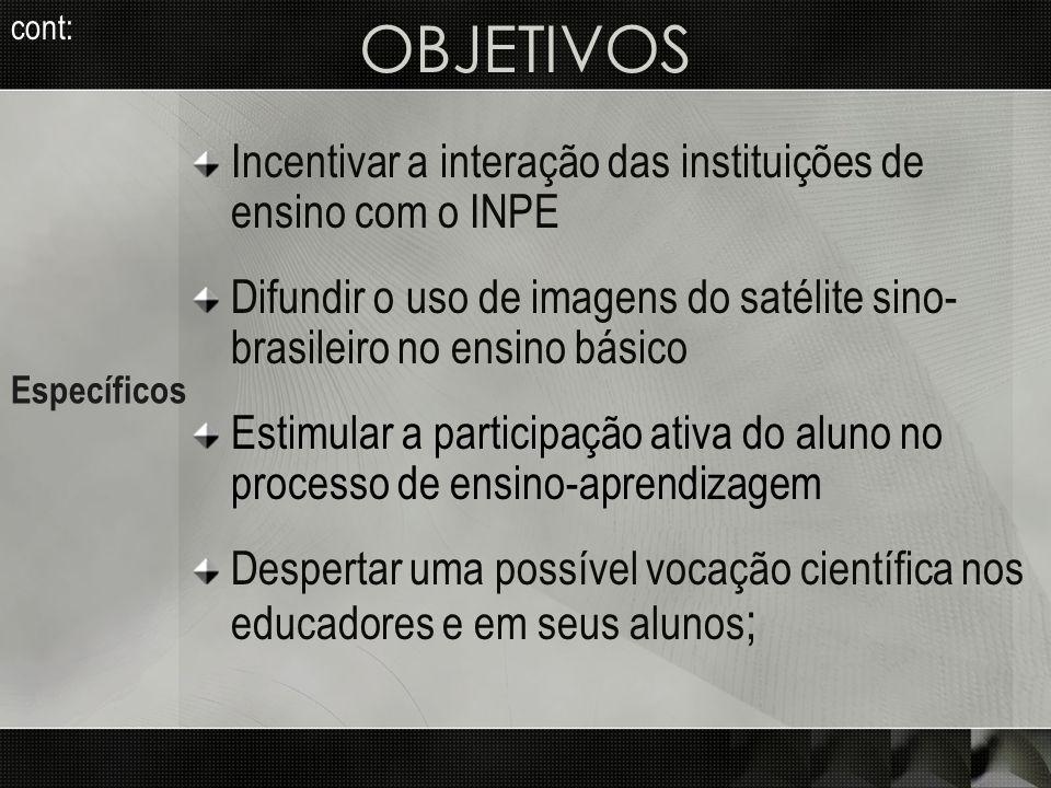 Incentivar a interação das instituições de ensino com o INPE Difundir o uso de imagens do satélite sino- brasileiro no ensino básico Estimular a parti