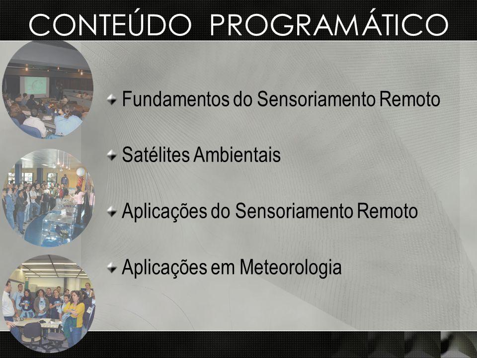 CONTEÚDO PROGRAMÁTICO Fundamentos do Sensoriamento Remoto Satélites Ambientais Aplicações do Sensoriamento Remoto Aplicações em Meteorologia