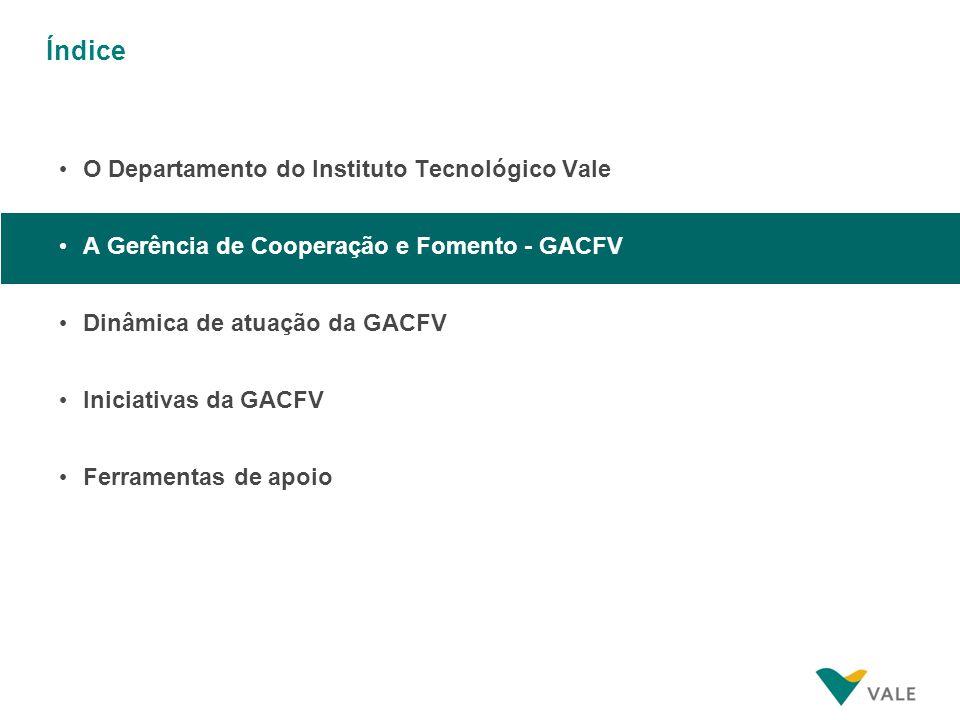 Índice O Departamento do Instituto Tecnológico Vale A Gerência de Cooperação e Fomento - GACFV Dinâmica de atuação da GACFV Iniciativas da GACFV Ferra