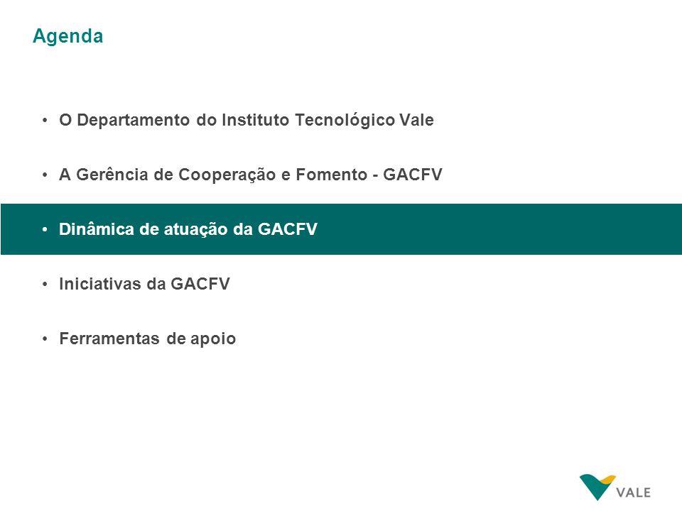 Agenda O Departamento do Instituto Tecnológico Vale A Gerência de Cooperação e Fomento - GACFV Dinâmica de atuação da GACFV Iniciativas da GACFV Ferra