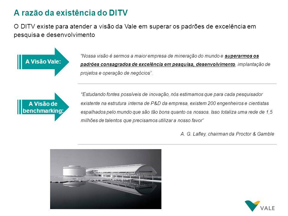 A razão da existência do DITV O DITV existe para atender a visão da Vale em superar os padrões de excelência em pesquisa e desenvolvimento A Visão Val