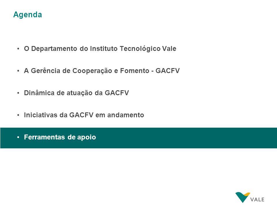 Agenda O Departamento do Instituto Tecnológico Vale A Gerência de Cooperação e Fomento - GACFV Dinâmica de atuação da GACFV Iniciativas da GACFV em an