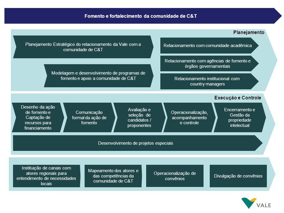 Fomento e fortalecimento da comunidade de C&T Operacionalização, acompanhamento e controle Desenvolvimento de projetos especiais Planejamento Execução