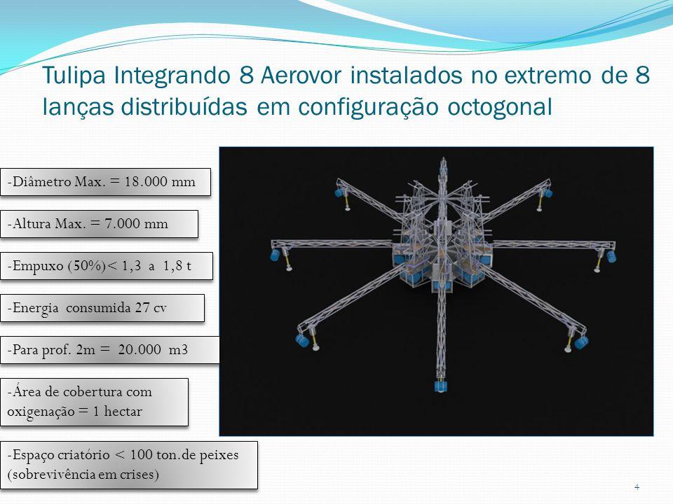 Tulipa Integrando 8 Aerovor instalados no extremo de 8 lanças distribuídas em configuração octogonal 4 -Diâmetro Max. = 18.000 mm -Altura Max. = 7.000