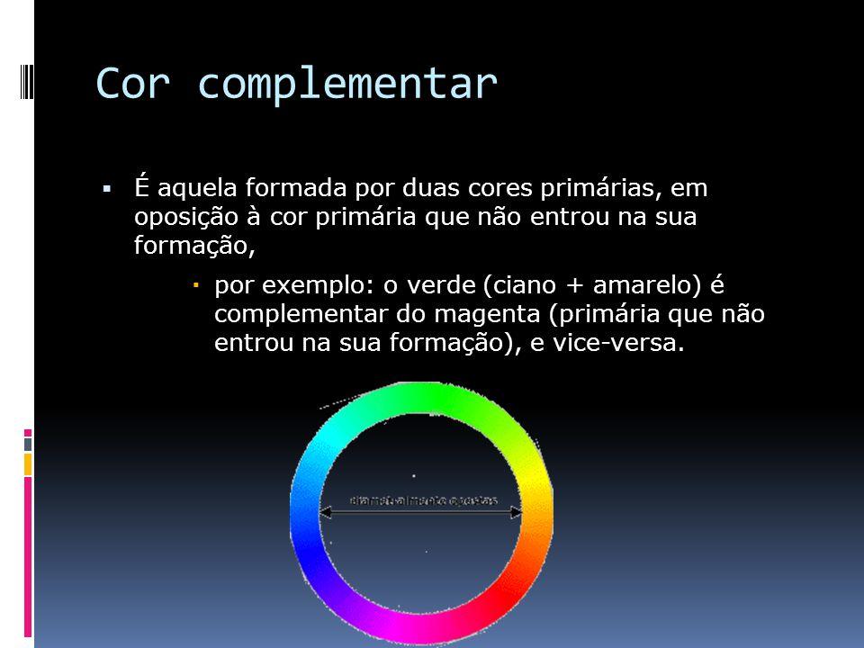 Cor complementar É aquela formada por duas cores primárias, em oposição à cor primária que não entrou na sua formação, por exemplo: o verde (ciano + amarelo) é complementar do magenta (primária que não entrou na sua formação), e vice-versa.