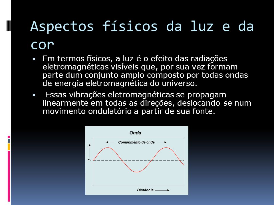 Aspectos físicos da luz e da cor Em termos físicos, a luz é o efeito das radiações eletromagnéticas visíveis que, por sua vez formam parte dum conjunt