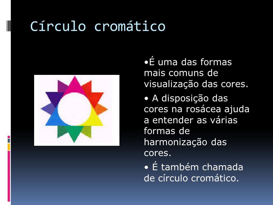 Círculo cromático É uma das formas mais comuns de visualização das cores. A disposição das cores na rosácea ajuda a entender as várias formas de harmo