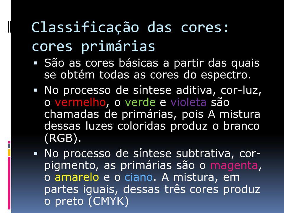Classificação das cores: cores primárias São as cores básicas a partir das quais se obtém todas as cores do espectro. No processo de síntese aditiva,