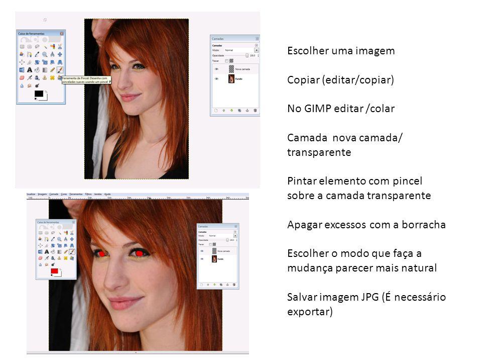 Escolher uma imagem Copiar (editar/copiar) No GIMP editar /colar Camada nova camada/ transparente Pintar elemento com pincel sobre a camada transparente Apagar excessos com a borracha Escolher o modo que faça a mudança parecer mais natural Salvar imagem JPG (É necessário exportar)