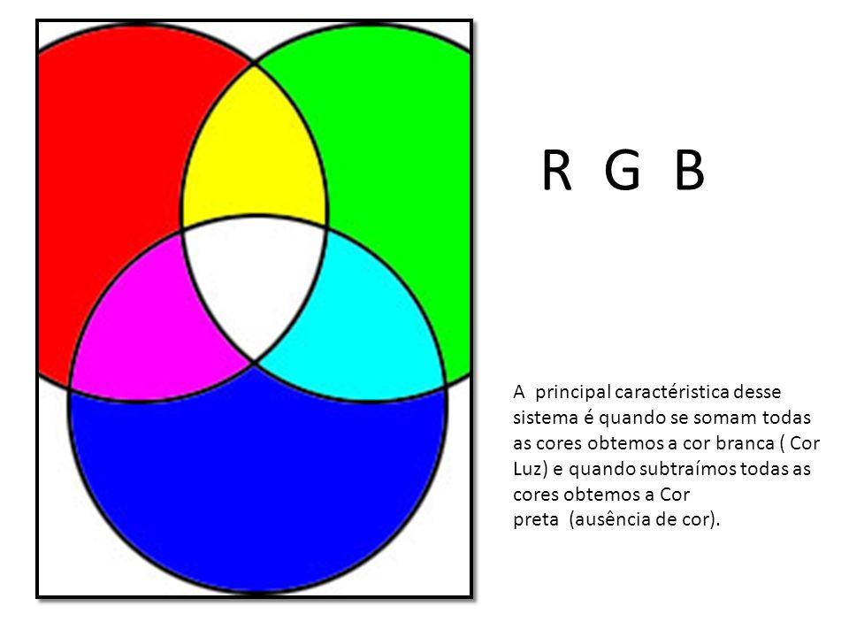 A principal caractéristica desse sistema é quando se somam todas as cores obtemos a cor branca ( Cor Luz) e quando subtraímos todas as cores obtemos a Cor preta (ausência de cor).