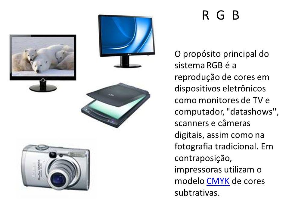 O propósito principal do sistema RGB é a reprodução de cores em dispositivos eletrônicos como monitores de TV e computador, datashows , scanners e câmeras digitais, assim como na fotografia tradicional.