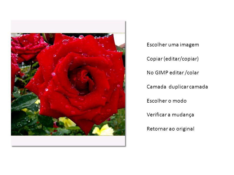 Escolher uma imagem Copiar (editar/copiar) No GIMP editar /colar Camada duplicar camada Escolher o modo Verificar a mudança Retornar ao original