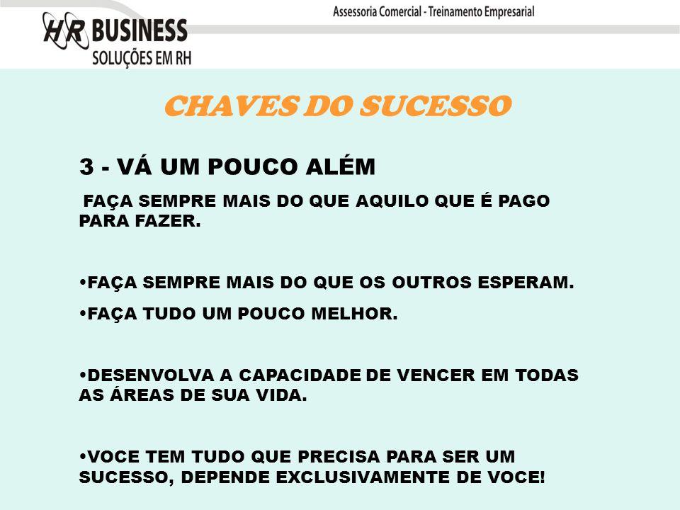 CHAVES DO SUCESSO 3 - VÁ UM POUCO ALÉM FAÇA SEMPRE MAIS DO QUE AQUILO QUE É PAGO PARA FAZER.