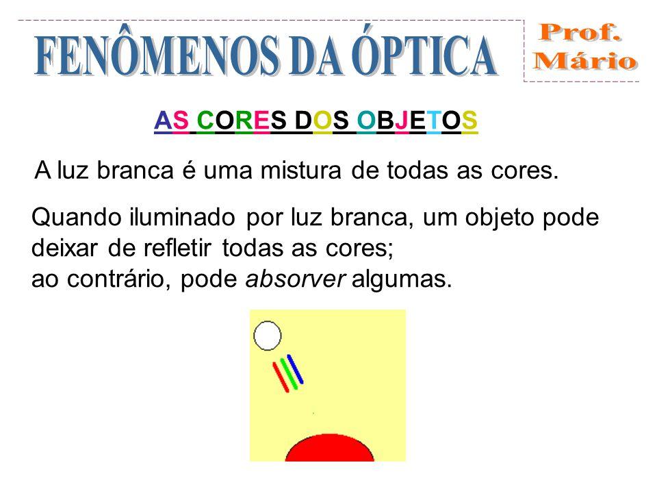 A cor não é uma característica própria do objeto, mas depende da luz que o ilumina.