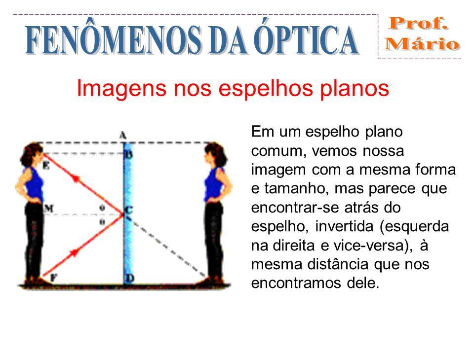 Imagens nos espelhos planos Em um espelho plano comum, vemos nossa imagem com a mesma forma e tamanho, mas parece que encontrar-se atrás do espelho, invertida (esquerda na direita e vice-versa), à mesma distância que nos encontramos dele.