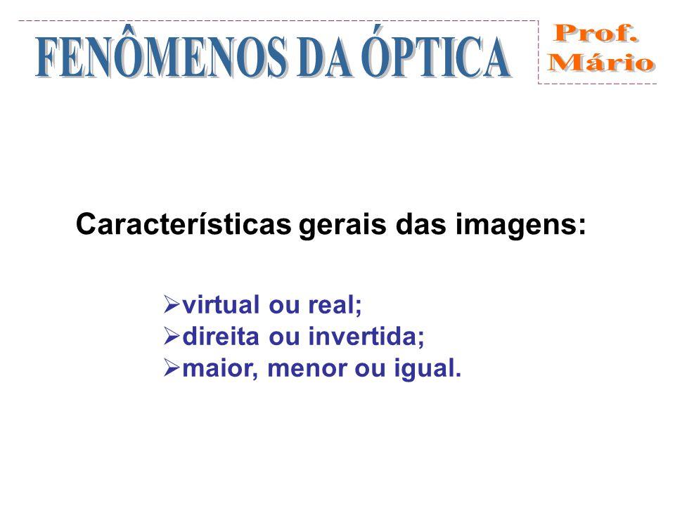 Características gerais das imagens: virtual ou real; direita ou invertida; maior, menor ou igual.