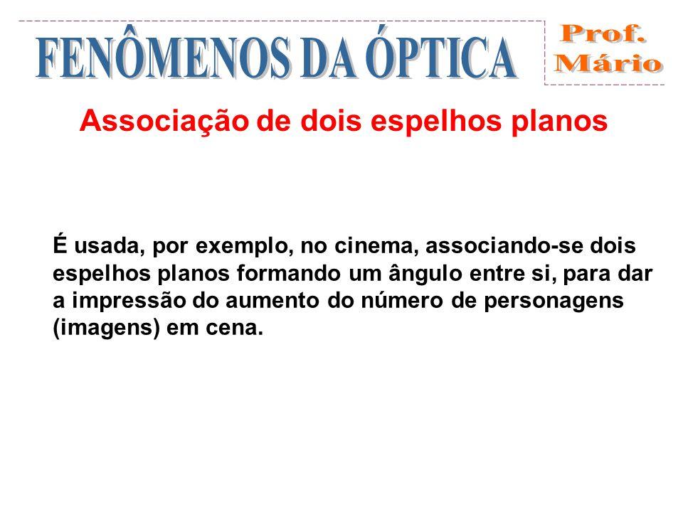 Associação de dois espelhos planos É usada, por exemplo, no cinema, associando-se dois espelhos planos formando um ângulo entre si, para dar a impressão do aumento do número de personagens (imagens) em cena.