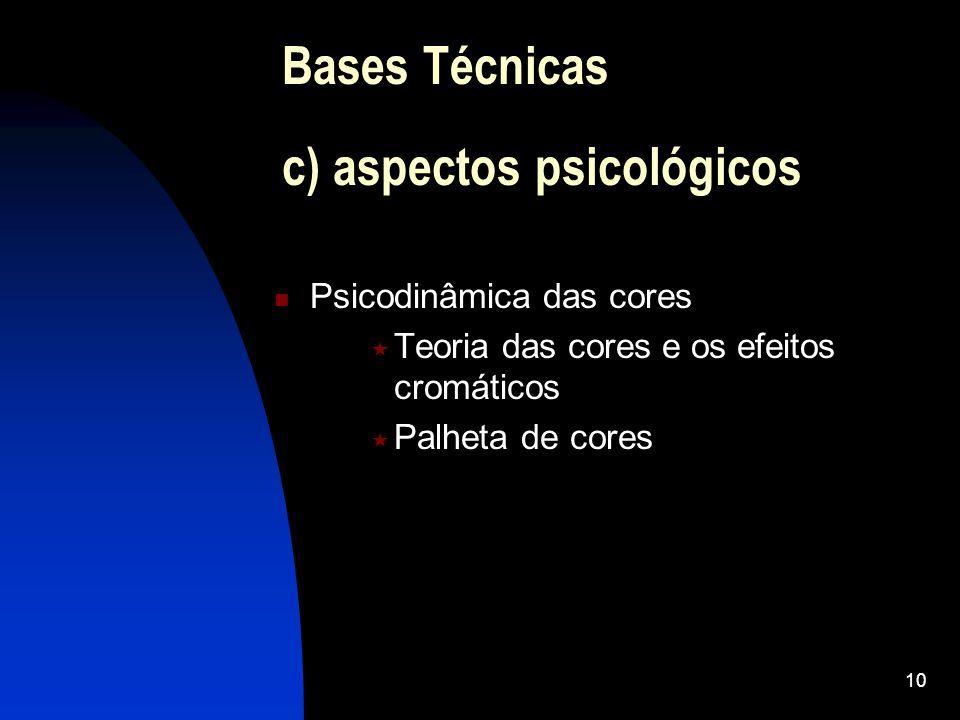 10 Psicodinâmica das cores Teoria das cores e os efeitos cromáticos Palheta de cores Bases Técnicas c) aspectos psicológicos