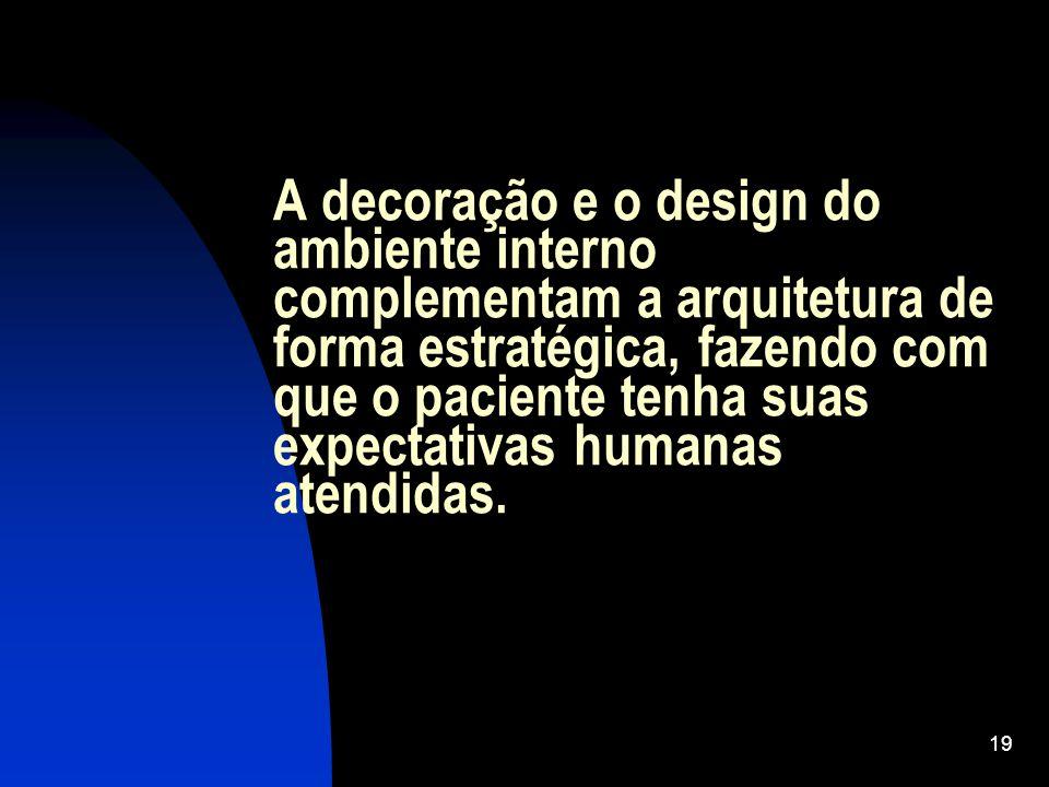 19 A decoração e o design do ambiente interno complementam a arquitetura de forma estratégica, fazendo com que o paciente tenha suas expectativas humanas atendidas.