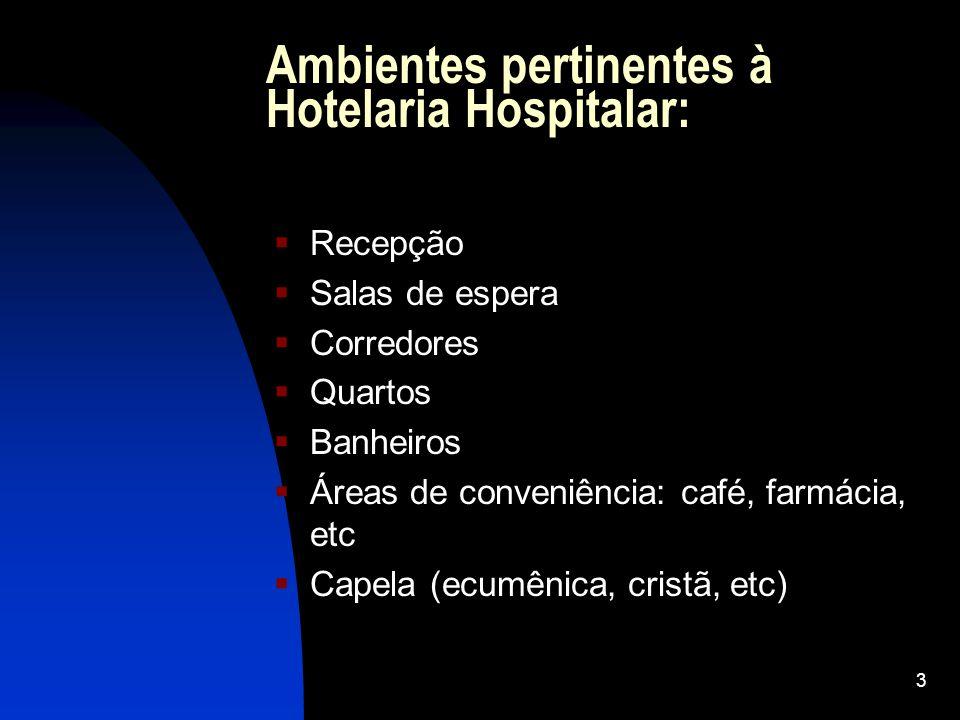 3 Ambientes pertinentes à Hotelaria Hospitalar: Recepção Salas de espera Corredores Quartos Banheiros Áreas de conveniência: café, farmácia, etc Capela (ecumênica, cristã, etc)