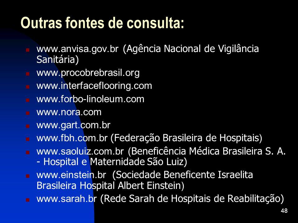 48 Outras fontes de consulta: www.anvisa.gov.br (Agência Nacional de Vigilância Sanitária) www.procobrebrasil.org www.interfaceflooring.com www.forbo-linoleum.com www.nora.com www.gart.com.br www.fbh.com.br (Federação Brasileira de Hospitais ) www.saoluiz.com.br ( Beneficência Médica Brasileira S.