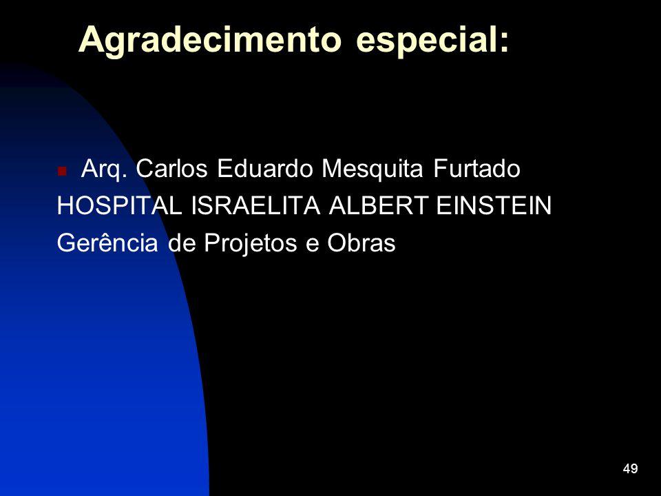 49 Agradecimento especial: Arq. Carlos Eduardo Mesquita Furtado HOSPITAL ISRAELITA ALBERT EINSTEIN Gerência de Projetos e Obras