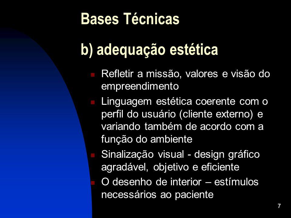 7 Bases Técnicas b) adequação estética Refletir a missão, valores e visão do empreendimento Linguagem estética coerente com o perfil do usuário (clien