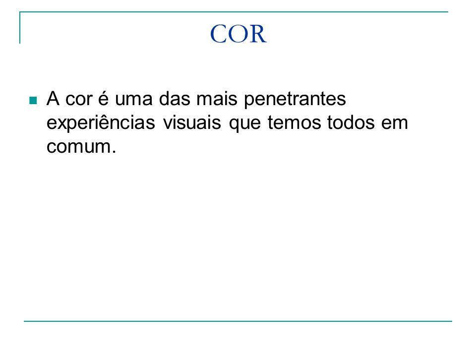 COR A cor é uma das mais penetrantes experiências visuais que temos todos em comum.