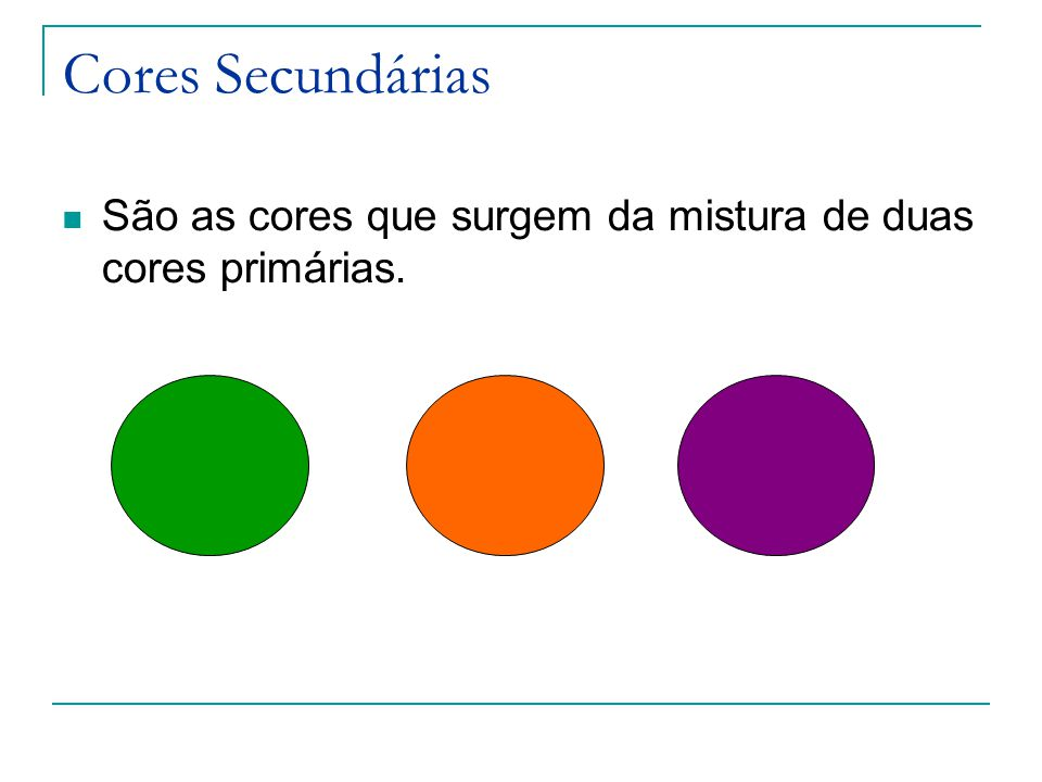 Cores Secundárias São as cores que surgem da mistura de duas cores primárias.