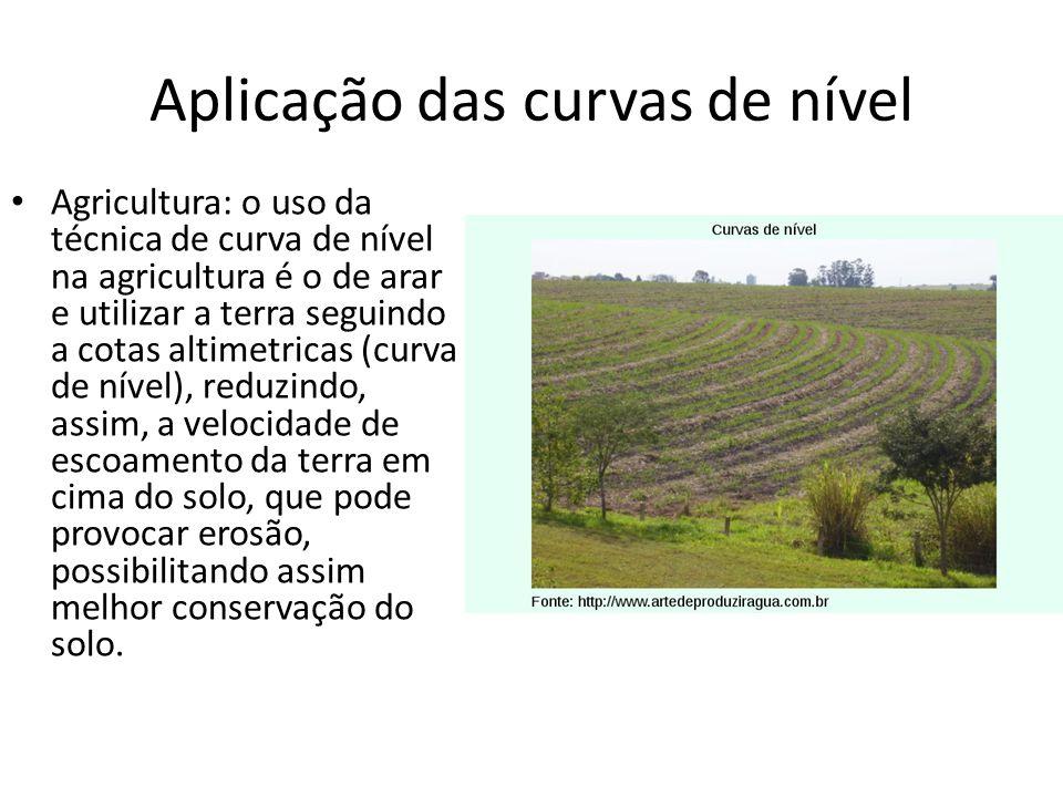 Aplicação das curvas de nível Agricultura: o uso da técnica de curva de nível na agricultura é o de arar e utilizar a terra seguindo a cotas altimetri