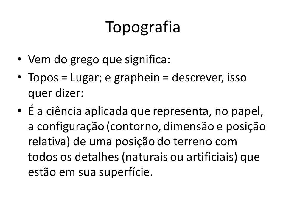 Topografia Vem do grego que significa: Topos = Lugar; e graphein = descrever, isso quer dizer: É a ciência aplicada que representa, no papel, a config