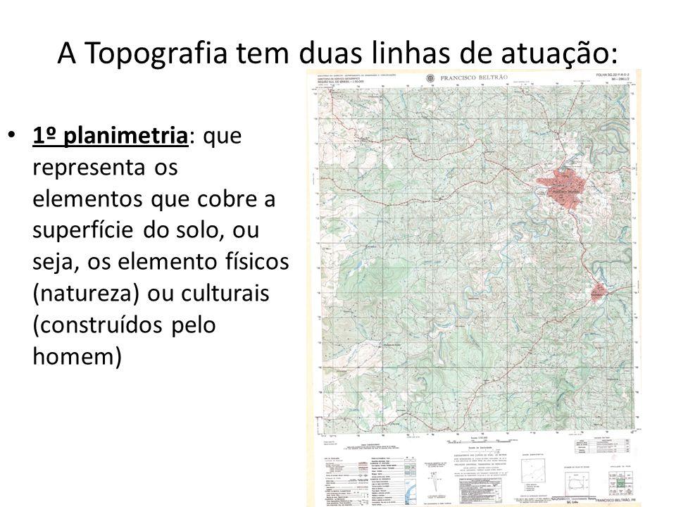 A Topografia tem duas linhas de atuação: 1º planimetria: que representa os elementos que cobre a superfície do solo, ou seja, os elemento físicos (nat