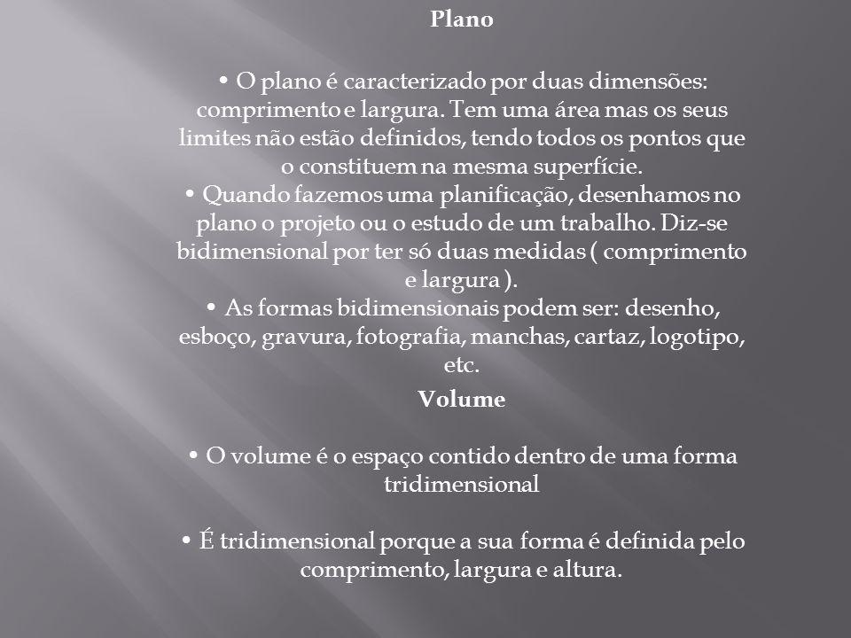Plano O plano é caracterizado por duas dimensões: comprimento e largura.