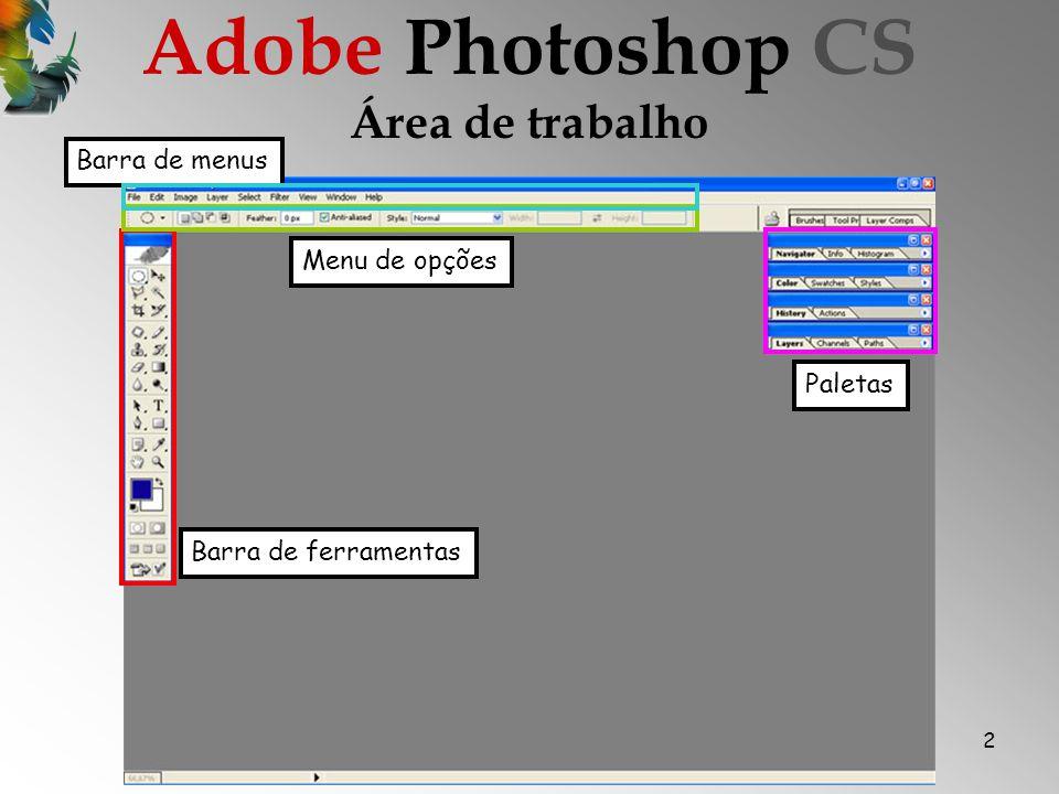 2 Área de trabalho Barra de ferramentas Menu de opções Barra de menus Paletas Adobe Photoshop CS