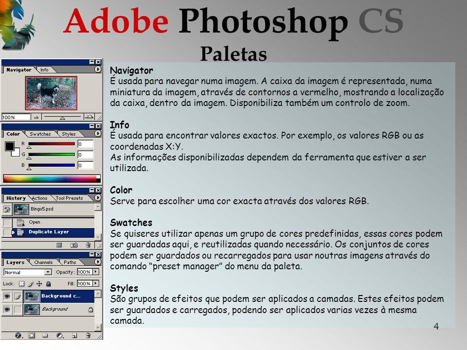 4 Paletas Adobe Photoshop CS Navigator É usada para navegar numa imagem.