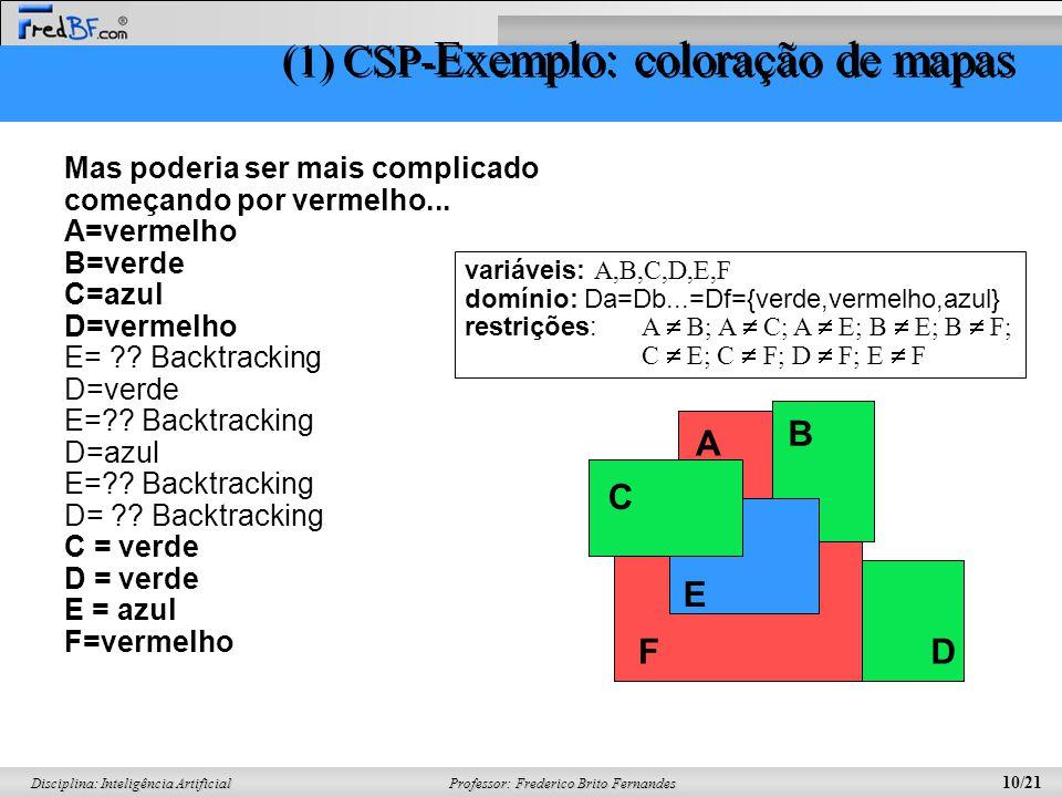 Professor: Frederico Brito Fernandes 10/21 Disciplina: Inteligência Artificial Mas poderia ser mais complicado começando por vermelho... A=vermelho B=