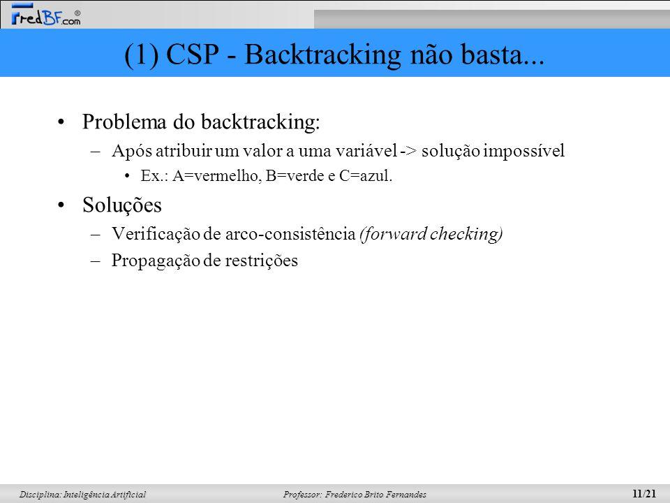 Professor: Frederico Brito Fernandes 11/21 Disciplina: Inteligência Artificial (1) CSP - Backtracking não basta... Problema do backtracking: –Após atr