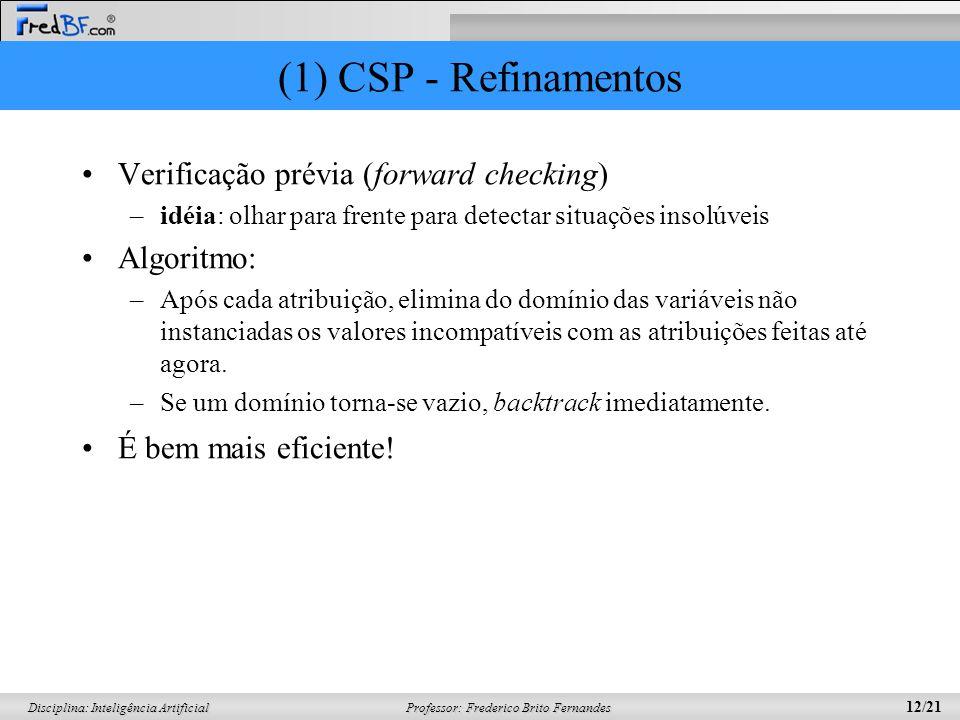Professor: Frederico Brito Fernandes 12/21 Disciplina: Inteligência Artificial (1) CSP - Refinamentos Verificação prévia (forward checking) –idéia: ol