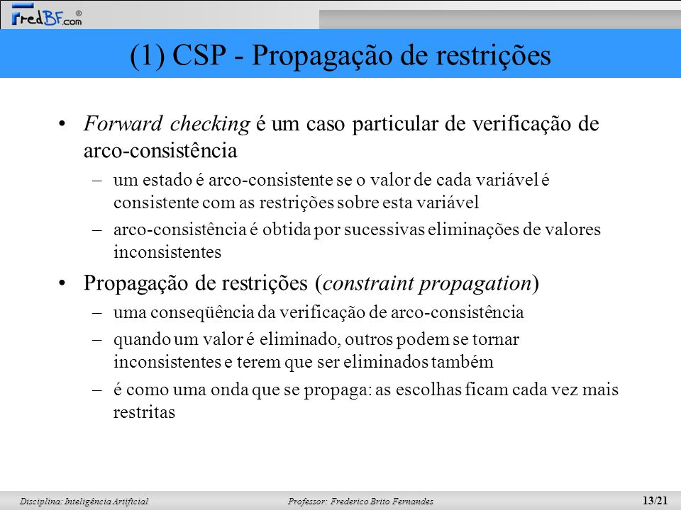 Professor: Frederico Brito Fernandes 13/21 Disciplina: Inteligência Artificial (1) CSP - Propagação de restrições Forward checking é um caso particula