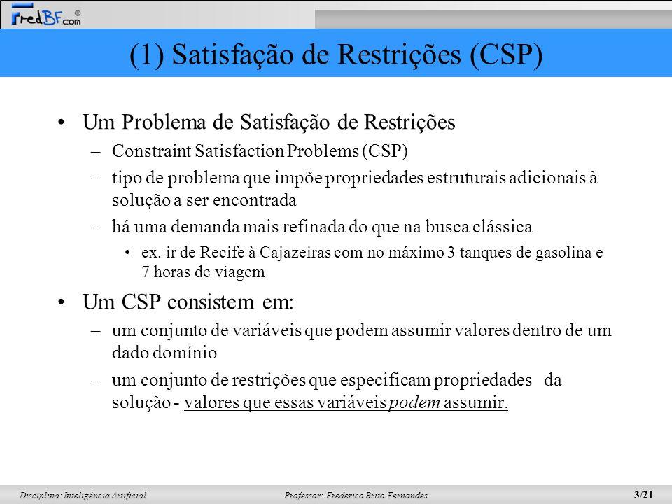 Professor: Frederico Brito Fernandes 3/21 Disciplina: Inteligência Artificial (1) Satisfação de Restrições (CSP) Um Problema de Satisfação de Restriçõ