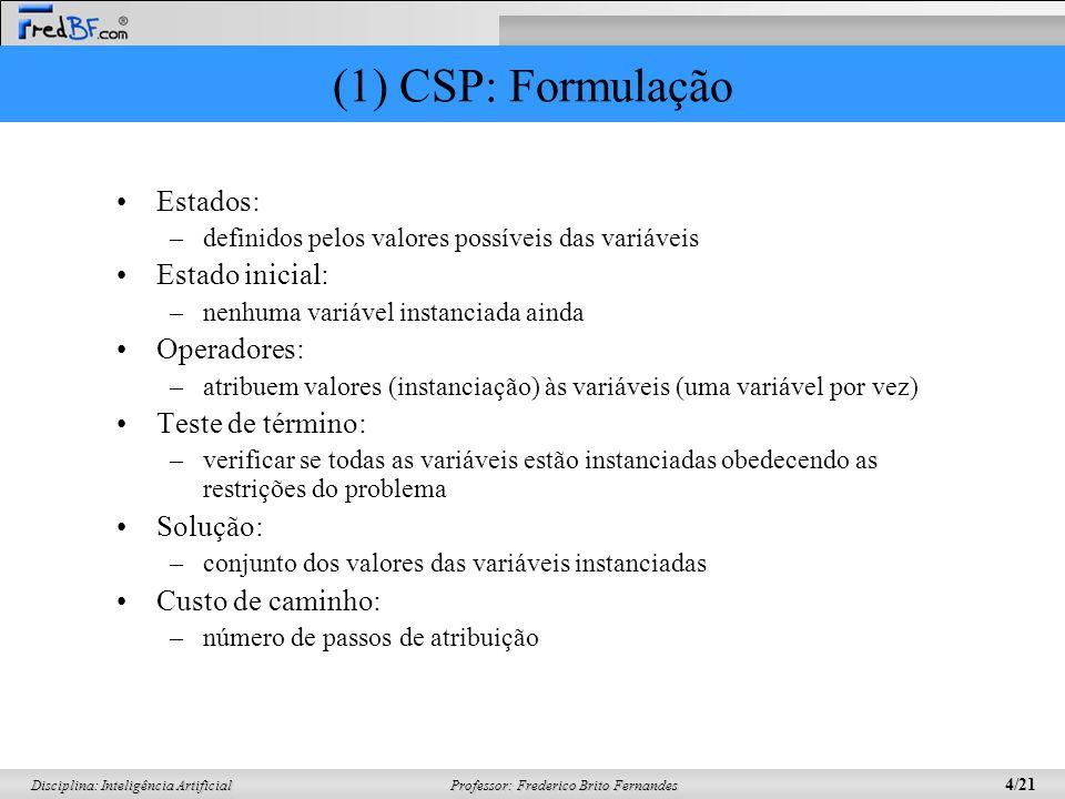 Professor: Frederico Brito Fernandes 4/21 Disciplina: Inteligência Artificial (1) CSP: Formulação Estados: –definidos pelos valores possíveis das vari