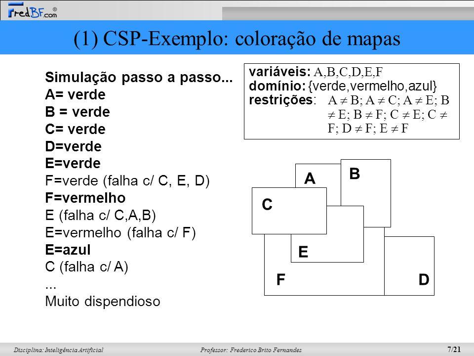 Professor: Frederico Brito Fernandes 7/21 Disciplina: Inteligência Artificial Simulação passo a passo... A= verde B = verde C= verde D=verde E=verde F