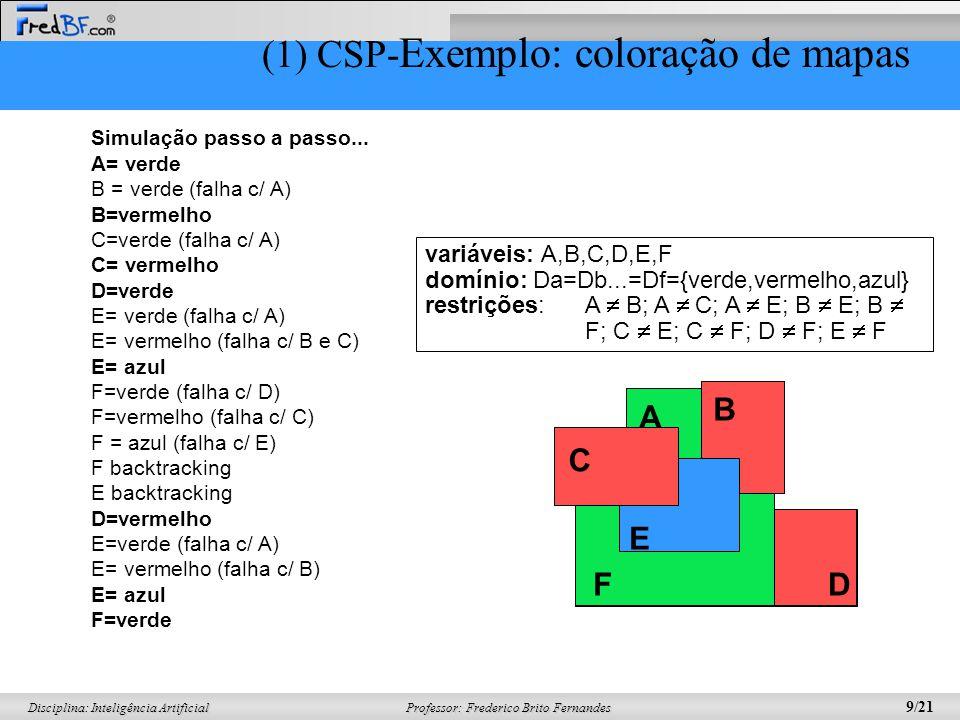 Professor: Frederico Brito Fernandes 9/21 Disciplina: Inteligência Artificial Simulação passo a passo... A= verde B = verde (falha c/ A) B=vermelho C=