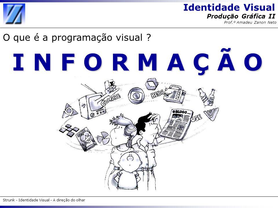 Identidade Visual Strunk - Identidade Visual - A direção do olhar Produção Gráfica II Prof.º Amadeu Zanon Neto I N F O R M A Ç Ã O O que é a programaç