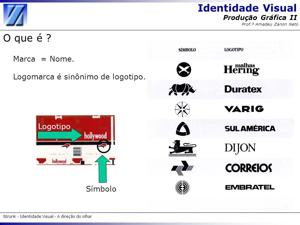 Identidade Visual Strunk - Identidade Visual - A direção do olhar Produção Gráfica II Prof.º Amadeu Zanon Neto O que é ? Marca = Nome. Logomarca é sin