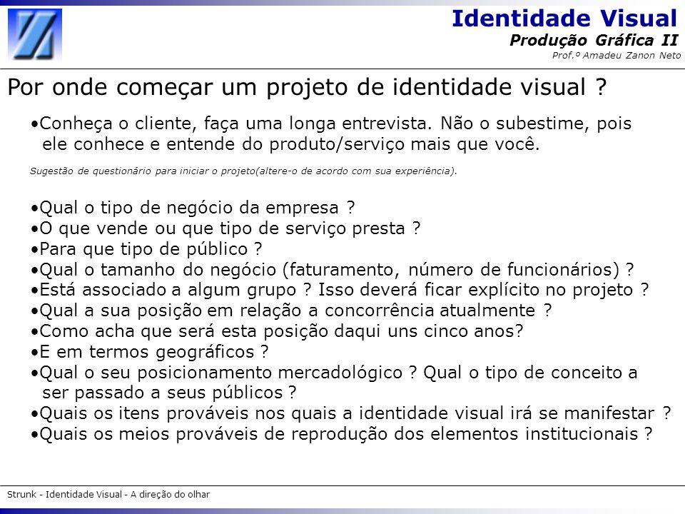 Identidade Visual Strunk - Identidade Visual - A direção do olhar Produção Gráfica II Prof.º Amadeu Zanon Neto Por onde começar um projeto de identida