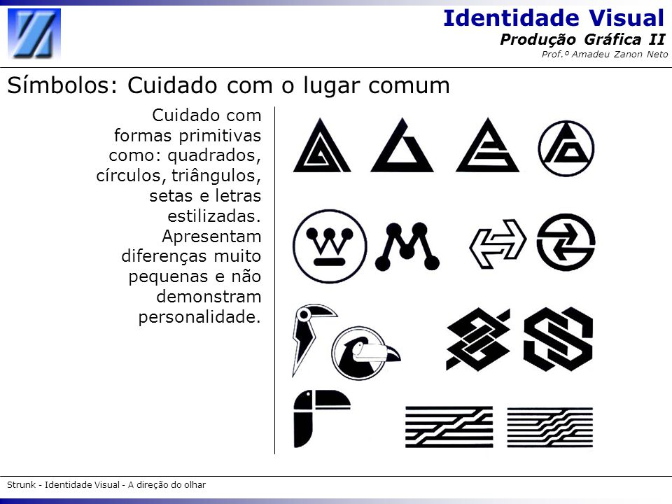 Identidade Visual Strunk - Identidade Visual - A direção do olhar Produção Gráfica II Prof.º Amadeu Zanon Neto Símbolos: Cuidado com o lugar comum Cui