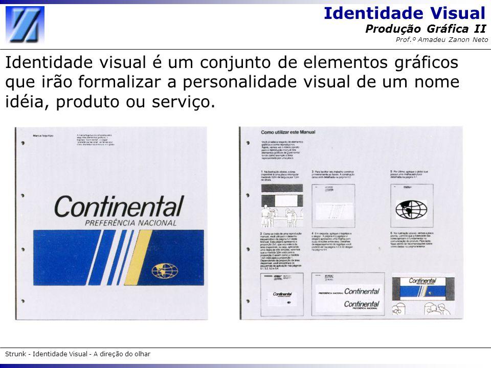 Identidade Visual Strunk - Identidade Visual - A direção do olhar Produção Gráfica II Prof.º Amadeu Zanon Neto O uso da identidade visual Uma vez criados, os elementos institucionais serão aplicados a diversos itens, constituindo assim uma identidade visual.