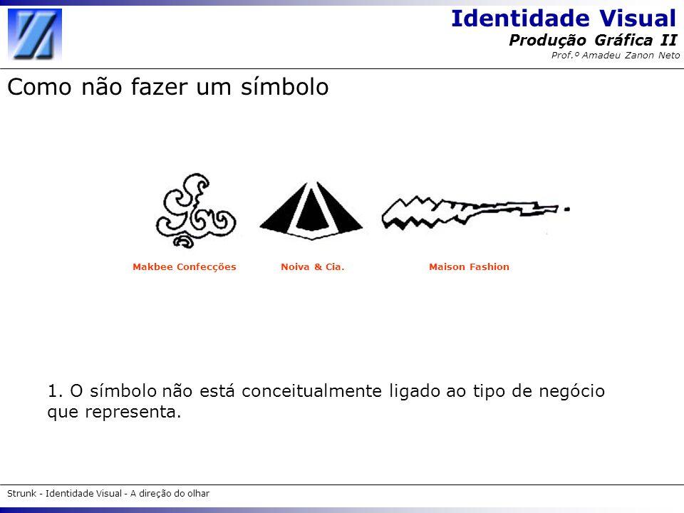 Identidade Visual Strunk - Identidade Visual - A direção do olhar Produção Gráfica II Prof.º Amadeu Zanon Neto Como não fazer um símbolo 1. O símbolo