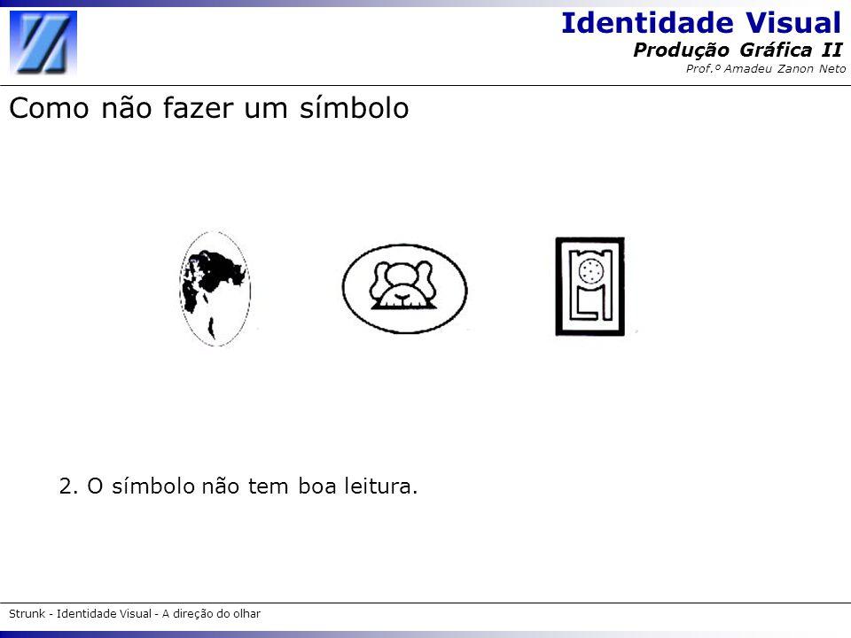Identidade Visual Strunk - Identidade Visual - A direção do olhar Produção Gráfica II Prof.º Amadeu Zanon Neto Como não fazer um símbolo 2. O símbolo